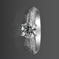 Diamond Solitaire And Accents Ring Round 1.26 Ct 4 Prongs Vs1 D 18 Kt White Gold
