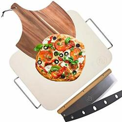 Pizza Stone For Oven And Grill With Wooden Pizza Peel Paddle And Pizza Cutter Rock