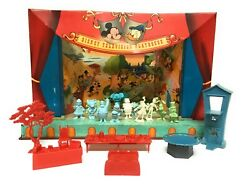 Marx Walt Disney Television Playhouse Tin Theater Playset Figures Props 1950and039s