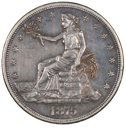 1875-cc Trade Silver One Dollar Carson City Minted 1 - About Uncirculated -