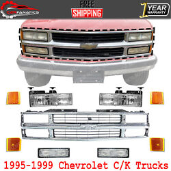 Front Chrome Grille + Head And Side Lights For 1995-99 Chevrolet And Gmc C/k Seires