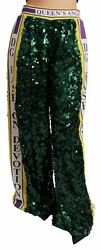 Dolceandgabbana Women Green Pants 100 Polyester Sequined Flared Fashion Trousers