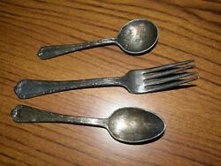 39341 Lot 3 Lord Baltimore 1 Ea Fork Teaspoon Desert Spoon Silver Plated Intand039l