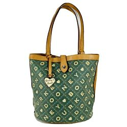 Dooney And Bourke Green Waxed Leather Crossword Pattern Shoulder Bag Tote