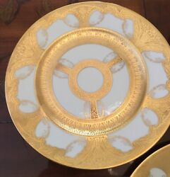 Large 10 7/8andrdquo Minton Dinner Plates 22 K Gold Encrusted Gilt Swags Set Of 8 Lot