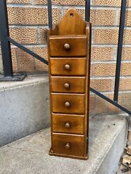 Primitive Antique Vintage 6 Drawer Farmhouse Spice Apothecary Cabinet Wall
