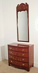 Rare Baker Furniture Company Queen Anne Chinoiserie Oxblood Chest W Mirror