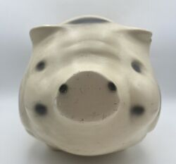 Large Chalkware Pig Bank Shabby Vintage Pig White With Black Spots 139366