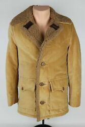 Vintage 1960s-70s Sears Western Outdoor Shop Menand039s Xs Faux Sherpa Corduroy Coat