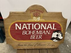 Vintage From The Land Of Pleasant Living Mr. Boh Wood National Bohemian Sign