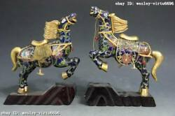 Chinese Royal Bronze Copper Cloisonne Gild Fengshui Lucky War Horse Broncos Pair