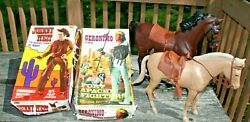 Vtg 60s Johnny West And Geronimo Marx Action Figures In Box Accessories And Horsess