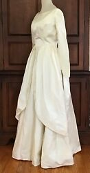 1950and039s Ivory Satin Wedding Dress Full Skirt Back Bows Small
