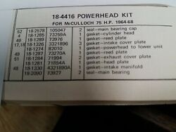 75hp Mcculloch Outboard Powerhead Gasket Set 196468 18-4416 Fast And Free