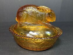 Rare Antique Amber Greentown Glass Rabbit On Nest Covered Dish