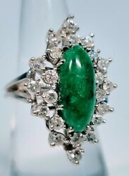 Vintage 1950s 14k White Gold Approx 1.ct Diamond And Emerald Ring Size 6