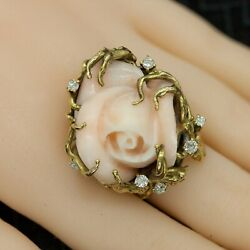 Vintage 18k Diamond Ring With Large Carved Angel Skin Coral Rose-sz 7 A1245