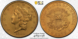1854 Small Date 20 Liberty Double Eagle Pcgs Vf Detail - Repaired