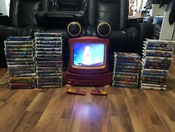 Disney Mickey Mouse Tv Vcr Dvd Combo W Both Remotes And 59 Disney Vhss Dt1350-c