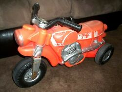 Rare Vintage Marx Toy Cross Country Motorcycle Ride On Motor Sound Collectible