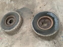 Pair Of 8.25 15 Solid Tyre On Rim Came Of A Farm Tipping Trailer Suit Forklift