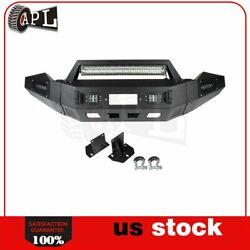 Bulkier Black Front Bumper Guard W/ Led And Winch Plate D-ring For Dodge Ram 13-18