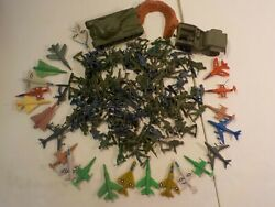N Vintage Blue And Green Army Men Soldiers Tanks Wwii Toys Marx Tim-mee Toys