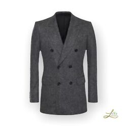 Alexander Mcqueen Double Breasted Cashmere Tweed Jacket Size 54