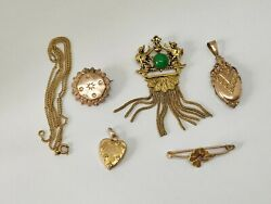 Lot Vintage Antique Victorian French Brooch Locket Pendant Gold Plated Jewelry