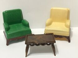 2 Vintage Renwal Dollhouse Living Room Chairs 76 And Table 72