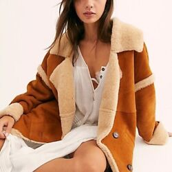 Free People Shearling Suede Coat Aspen Marshall Chestnut Brown M Yellowstone Nwt