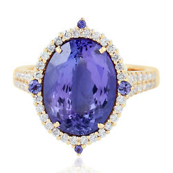 Memorial Day Gift 8.33ct Natural Tanzanite Cocktail Ring 18k Yellow Gold Jewelry