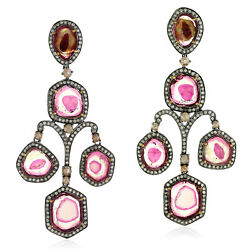 44.2ct Tourmaline And Diamond Dangle Earrings 925 Sterling Silver 18k Gold Jewelry