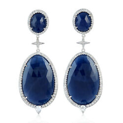 1.58ct Pave Diamond Blue Sapphire Drop/dangle Earrings 18kt Solid White Gold