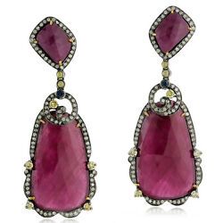64.65ct Ruby Sapphire Diamond 18k Gold Sterling Silver Dangle Earrings Jewelry