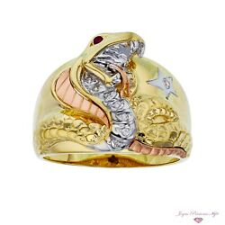 14k Yellow White And Rose Gold Signet Cobra Snake Ring