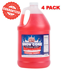 4 Pack 1 Gallon Carnival King State Fair Sweet Cotton Candy Snow Cone Syrup New