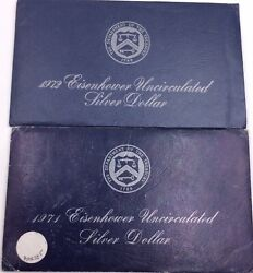 1971 And 1972 Uncirculated Eisenhower Silver Dollar Lot 40 Silver