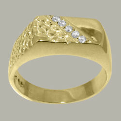 18k Yellow Gold Cubic Zirconia Mens Band Ring - Sizes 6 To 12