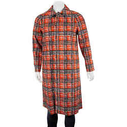 Scribble Check Cotton Car Coat In Bright Military Red