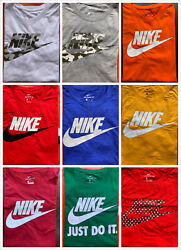 Menand039s Nike T-shirt S-4xl Graphic Swoosh-just-do-it Logo Crew Athletic Fit Tee