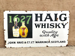 1920s Vintage Extra Rare John Haig And Co. 1627 Haig Whisky Enamel Sign Scotland