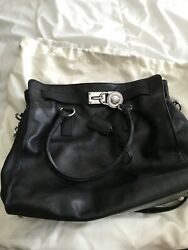 Large Hamilton Bag - Black Leather With Silver Hardware