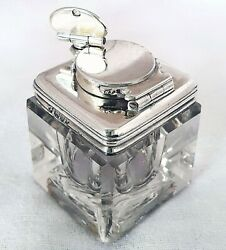 Antique Georgian 1829 Solid Sterling Silver Glass Travelling Inkwell Ink Pot