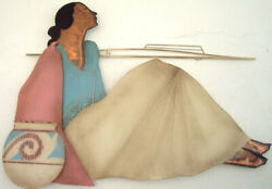 Native Southwestern American Indian Woman Large Metal Copper Sculpture Wall Art