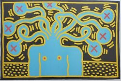 Vintage And Rare 1985 Keith Haring Medusa Head Pop Art Lithograph Poster On Board