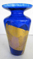 Vintage Handblown And Cobalt Blue Color Glass With Gold Finish Designs By R Guy C
