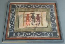 Signed Jira Rare And Original African Art Textile Painting Capetown, South Africa