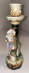 Antique Porcelain Woman With Hand Fan Figural Candlestick Holder Majolica Detail