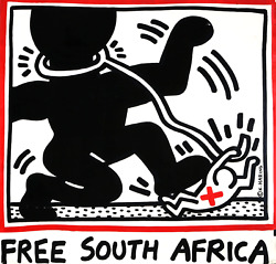 Keith Haring Free South Africa Poster Mounted To Foamcore